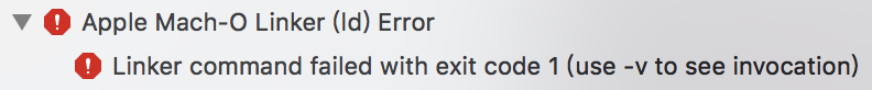 Linker command failed with exit code 1(use -v to see invocation)